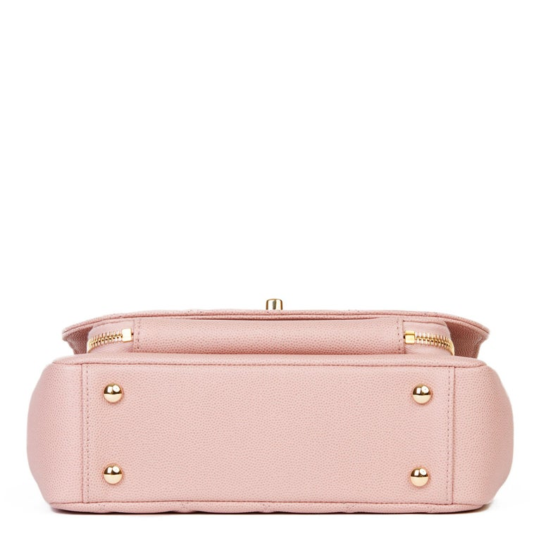 2018 Chanel Light Dusky Pink Quilted Caviar Medium Business Affinity Flap Bag For Sale 2