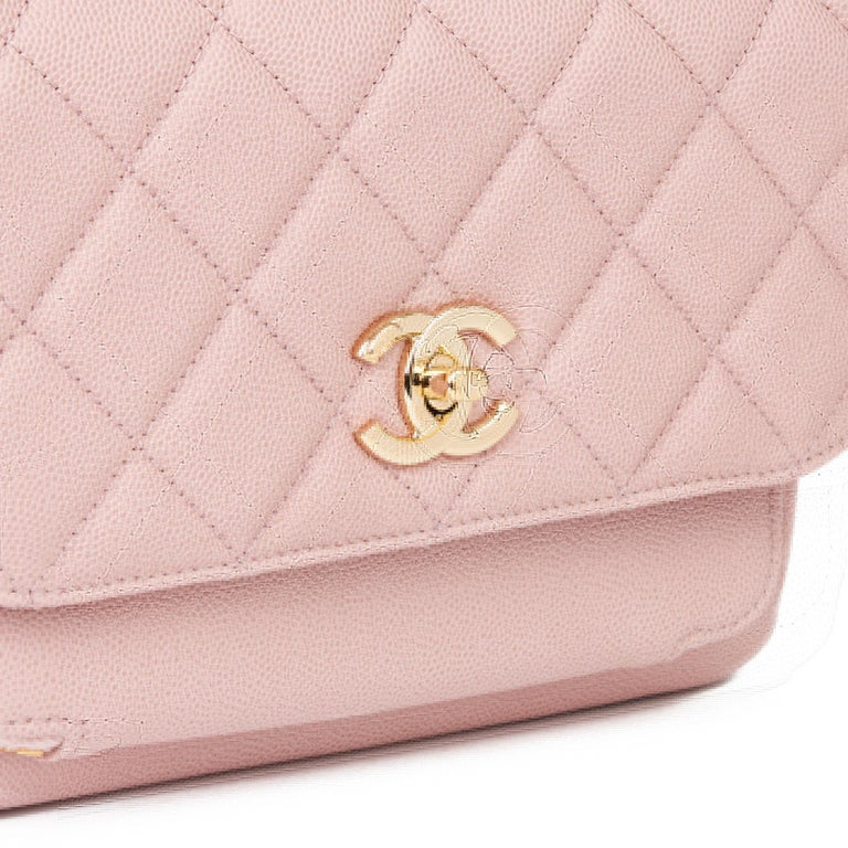 2018 Chanel Light Dusky Pink Quilted Caviar Medium Business Affinity Flap Bag For Sale 3