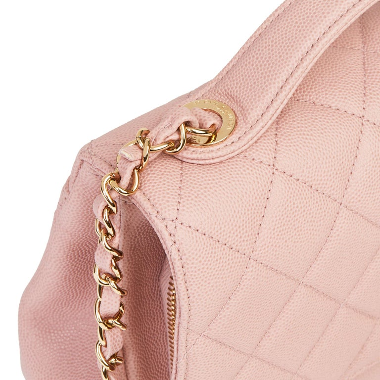 2018 Chanel Light Dusky Pink Quilted Caviar Medium Business Affinity Flap Bag For Sale 4