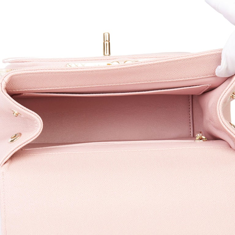 2018 Chanel Light Dusky Pink Quilted Caviar Medium Business Affinity Flap Bag For Sale 5