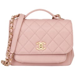 2018 Chanel Light Dusky Pink Quilted Caviar Medium Business Affinity Flap Bag