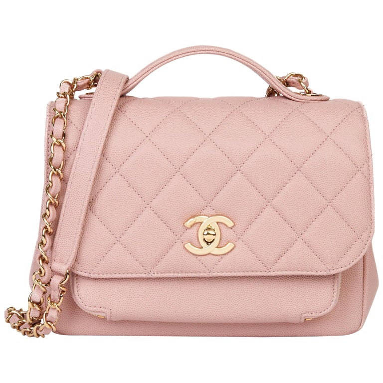 2018 Chanel Light Dusky Pink Quilted Caviar Medium Business Affinity Flap Bag For Sale