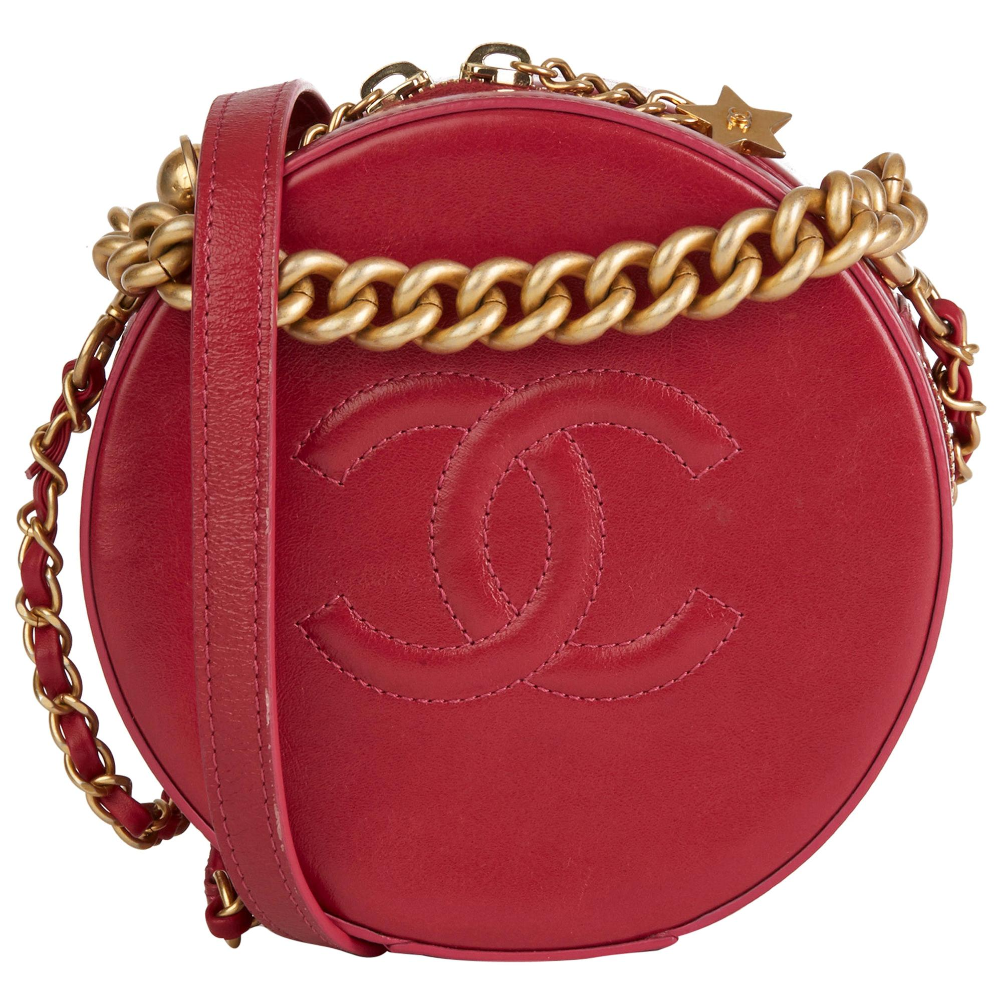 2018 Chanel Raspberry Glazed Calfskin Leather Round as Earth Bag
