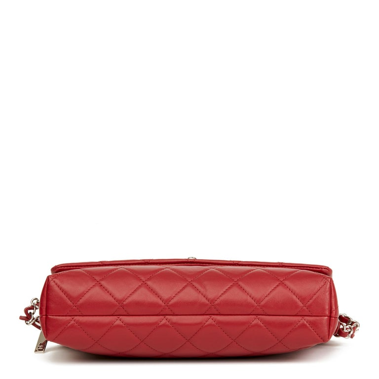 2018 Chanel Red Quilted Lambskin Classic Shoulder Bag For Sale 1
