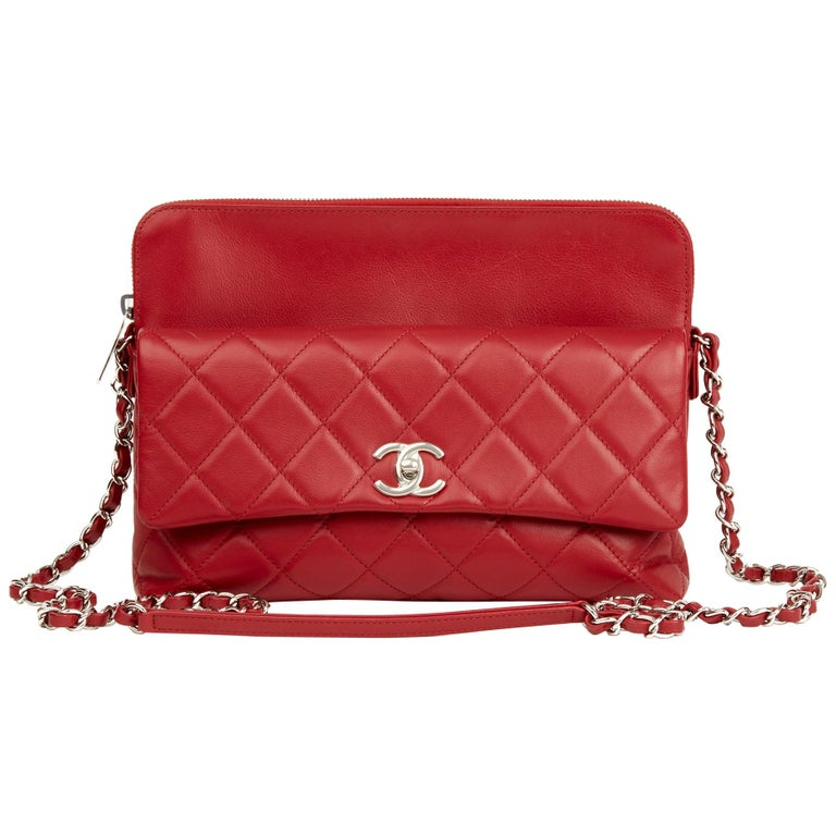 2018 Chanel Red Quilted Lambskin Classic Shoulder Bag For Sale