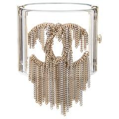 2018 Chanel Waterfall Cuff Bracelet Chain Link Fringe Box + Receipt Clear Lucite