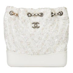 2018 Chanel White Tweed Fabric, Calfskin, Transparent PVC Gabrielle Backpack