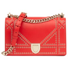 2018 Christian Dior Red Lambskin Eyelet Diorama Flap Bag