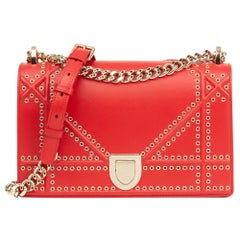 2018 Dior Red Lambskin Eyelet Diorama Flap Bag