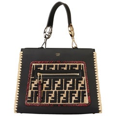 2018 Fendi Black Calfskin Leather, Raffia & Red Python Leather Small Runaway