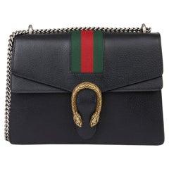 2018 Gucci Black Pigskin Leather Web Medium Dionysus