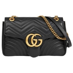 2018 Gucci Black Quilted Calfskin Leather Medium Marmont