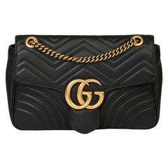 2018 Gucci Black Quilted Chevron Lambskin Leather Medium Marmont