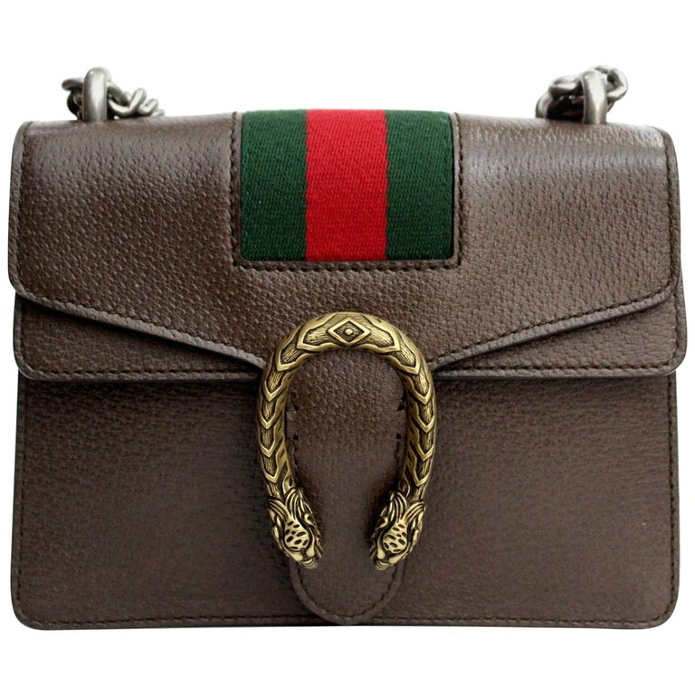 c3a9b3396ccf 2018 Gucci Brown Leather Mini Dionysus Bag For Sale at 1stdibs