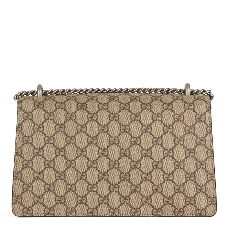 Women's 2018 Gucci Embroidered GG Supreme Canvas & Natural Python Leather Small Dionysus For Sale