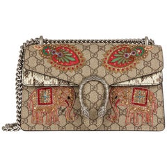 2018 Gucci Embroidered GG Supreme Canvas & Natural Python Leather Small Dionysus