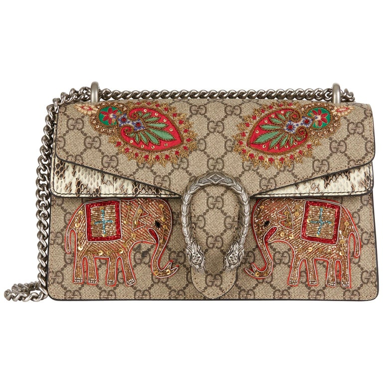 2018 Gucci Embroidered GG Supreme Canvas & Natural Python Leather Small Dionysus For Sale