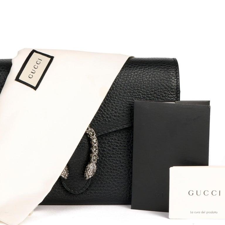 2018 Gucci GUCCI Black Grained Calfskin Mini Dionysus  For Sale 10
