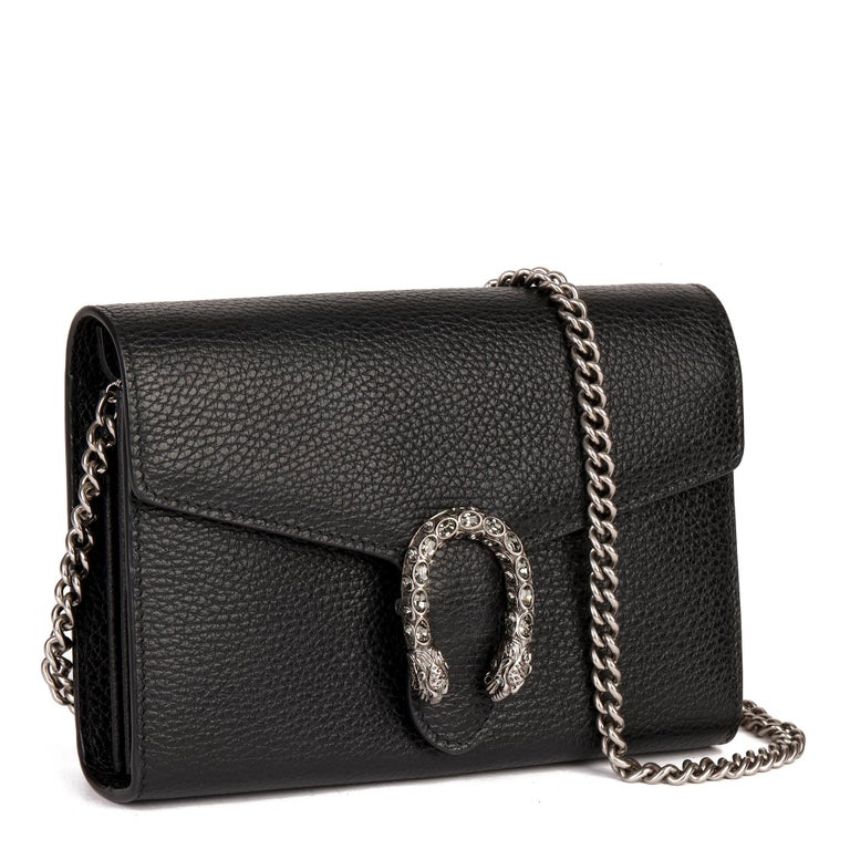 GUCCI Black Grained Calfskin Mini Dionysus   Xupes Reference: CB290 Serial Number: 40.231.04.6 Age (Circa): 2018 Accompanied By: Gucci Dust Bag, Receipt Authenticity Details: Date Stamp (Made in Italy)  Gender: Ladies Type: Shoulder,