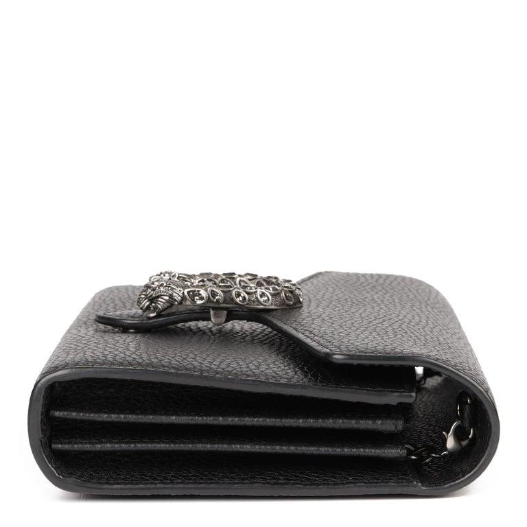 Women's 2018 Gucci GUCCI Black Grained Calfskin Mini Dionysus  For Sale