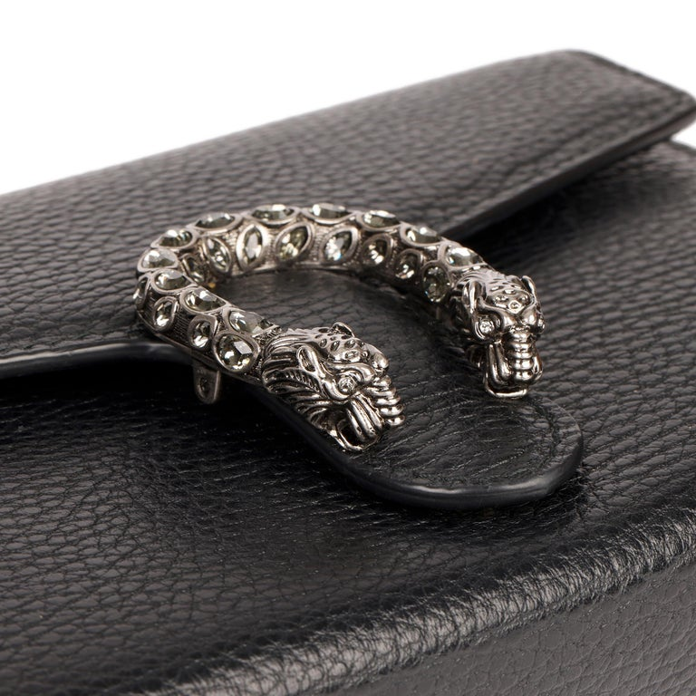 2018 Gucci GUCCI Black Grained Calfskin Mini Dionysus  For Sale 4