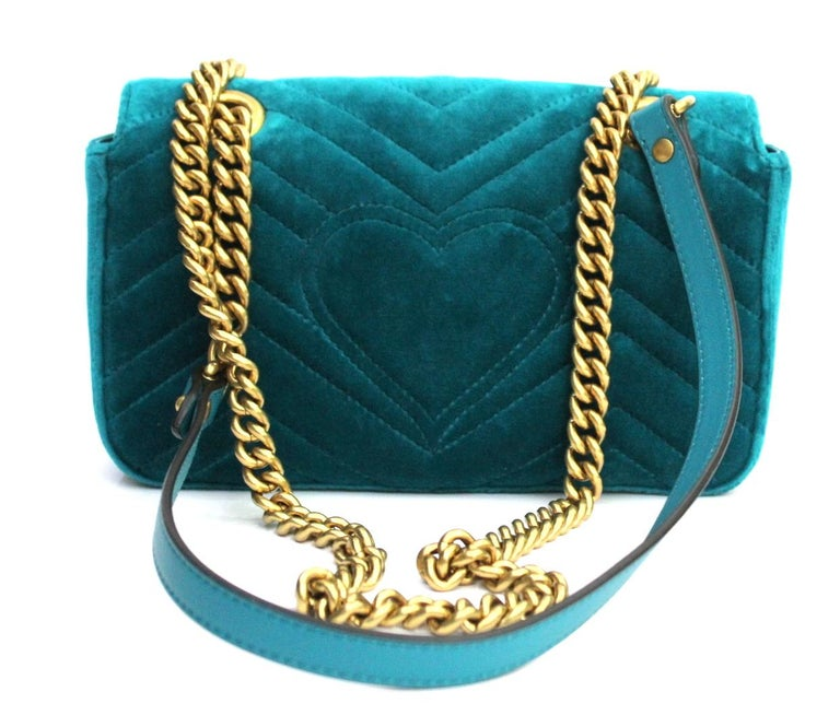 f67754b2546 2018 Gucci Petrol Blu Velvet Marmont Bag For Sale at 1stdibs