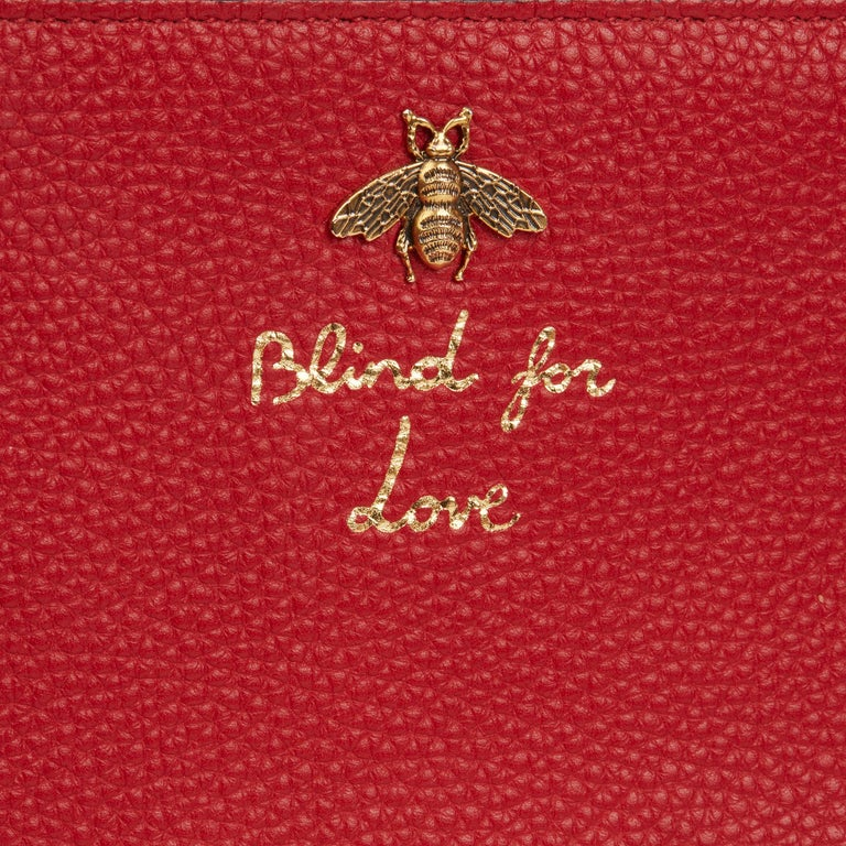 2018 Gucci Red Calfskin Leather 'Blind For Love' Pouch For Sale 2