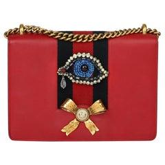 2018 Gucci Red Calfskin Leather Eye Embellished Webb Medium Peony
