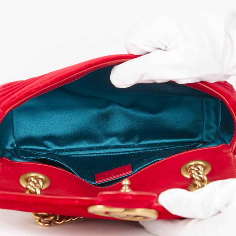 2018 Gucci Red Quilted Velvet Mini Marmont  7