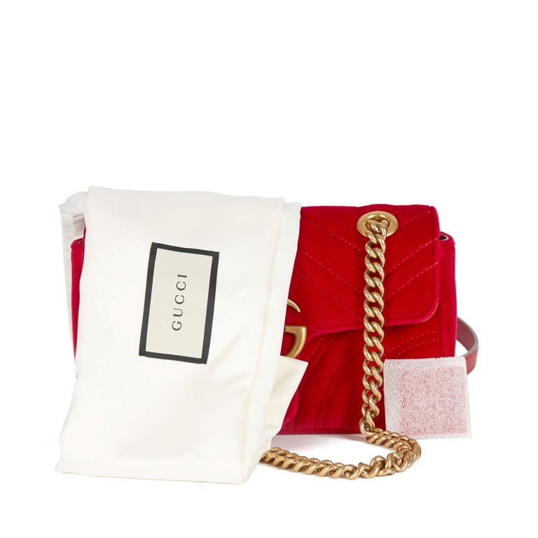 2018 Gucci Red Quilted Velvet Mini Marmont  8