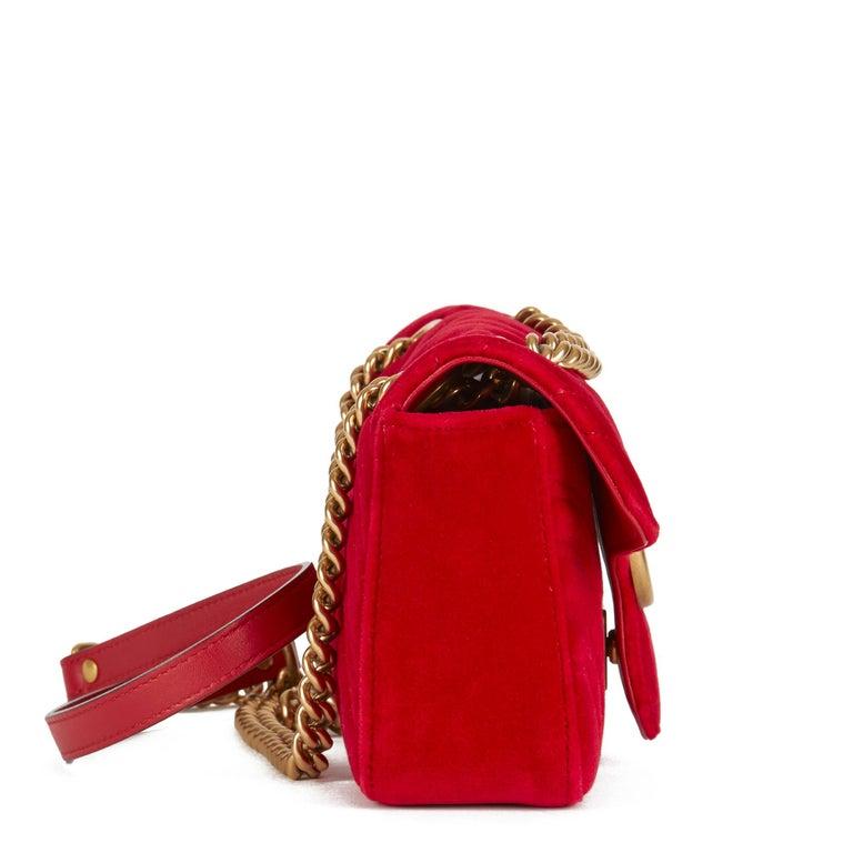 2018 Gucci Red Quilted Velvet Mini Marmont  In Excellent Condition In Bishop's Stortford, Hertfordshire