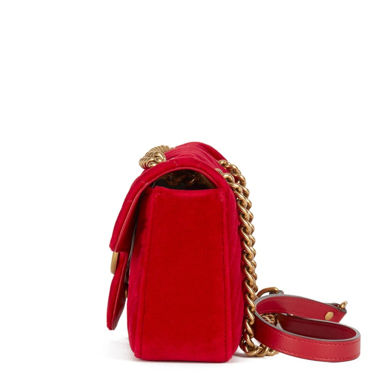 Women's 2018 Gucci Red Quilted Velvet Mini Marmont