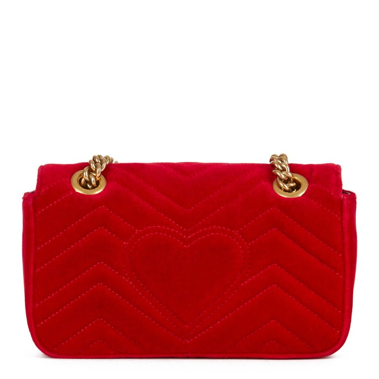 2018 Gucci Red Quilted Velvet Mini Marmont  1