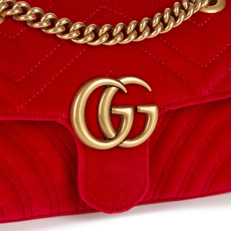 2018 Gucci Red Quilted Velvet Mini Marmont  3