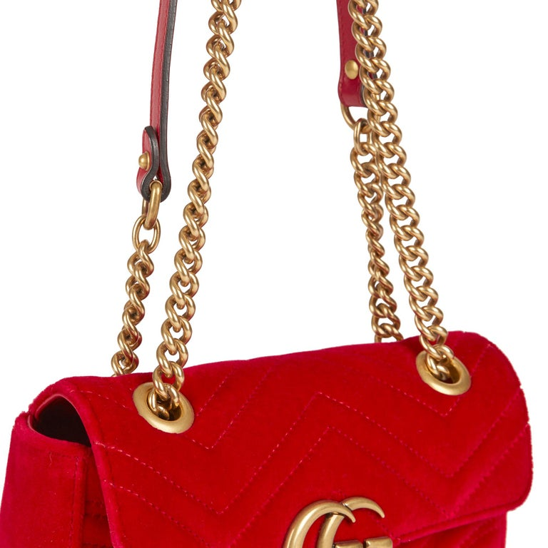 2018 Gucci Red Quilted Velvet Mini Marmont  4