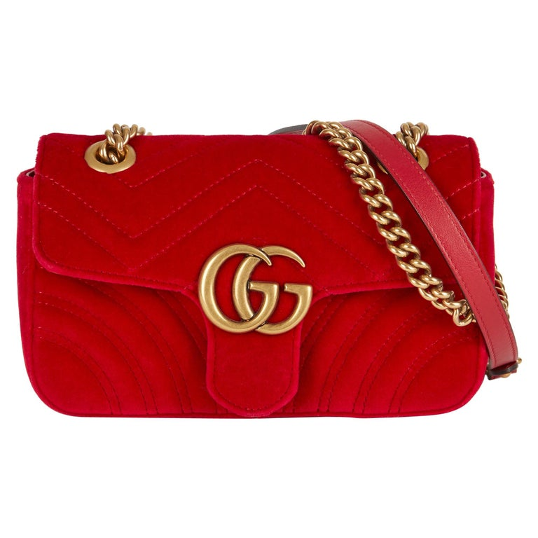 2018 Gucci Red Quilted Velvet Mini Marmont
