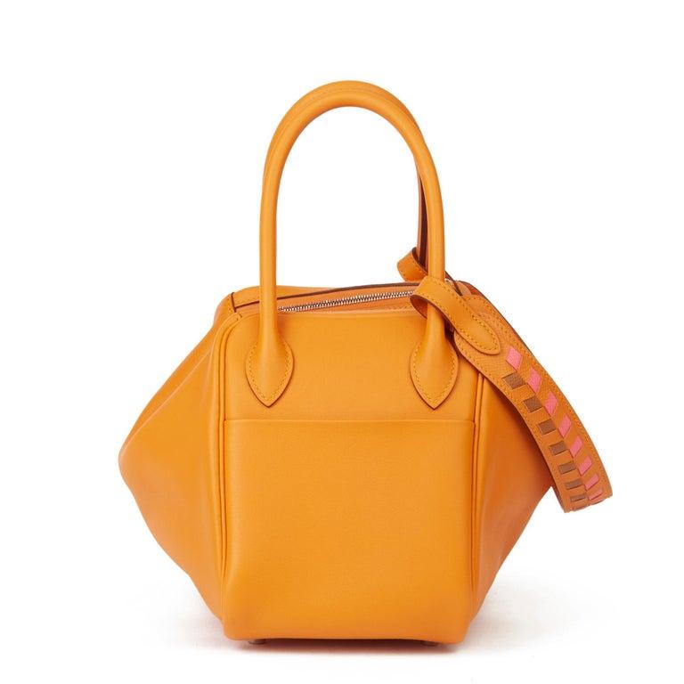 Women's 2018 Hermès Abricot Leather & Rose Azalee, Epsom Leather Tressage Lindy 26cm For Sale