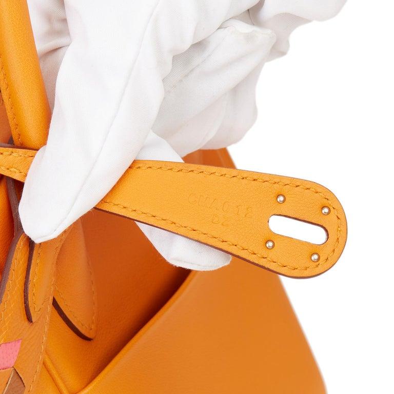 2018 Hermès Abricot Leather & Rose Azalee, Epsom Leather Tressage Lindy 26cm For Sale 5