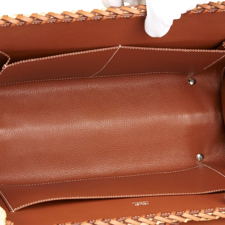 2018 Hermès Barenia Leather & Wicker Kelly 35cm Picnic For Sale 5