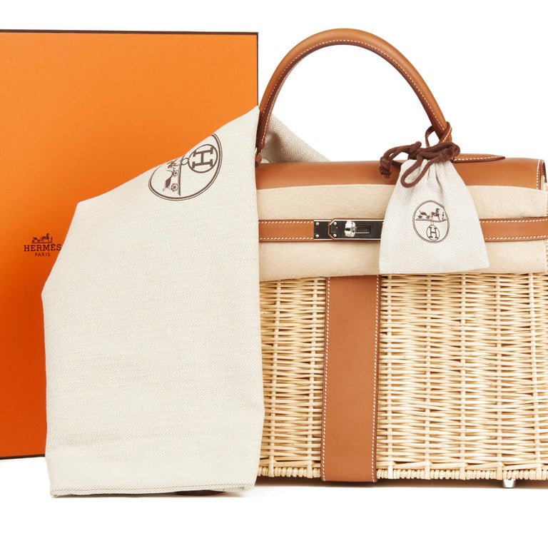 2018 Hermès Barenia Leather & Wicker Kelly 35cm Picnic For Sale 6