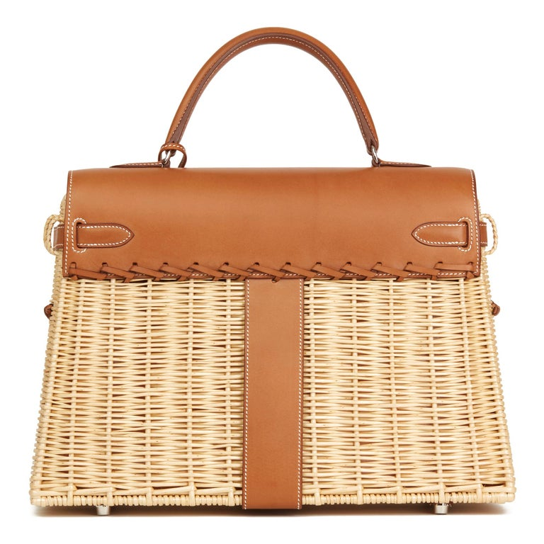 2018 Hermès Barenia Leather & Wicker Kelly 35cm Picnic In New Condition For Sale In Bishop's Stortford, Hertfordshire