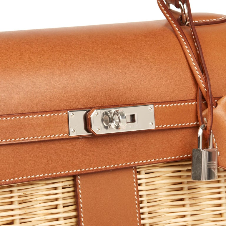 2018 Hermès Barenia Leather & Wicker Kelly 35cm Picnic For Sale 1