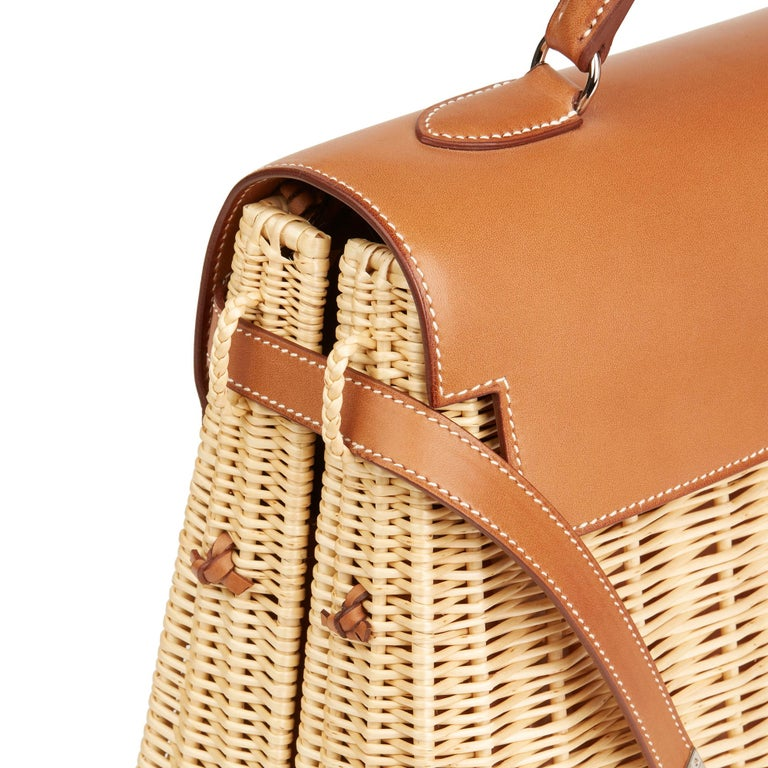 2018 Hermès Barenia Leather & Wicker Kelly 35cm Picnic For Sale 2