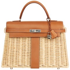 2018 Hermès Barenia Leather & Wicker Kelly 35cm Picnic