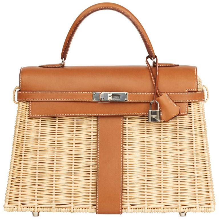 2018 Hermès Barenia Leather & Wicker Kelly 35cm Picnic For Sale