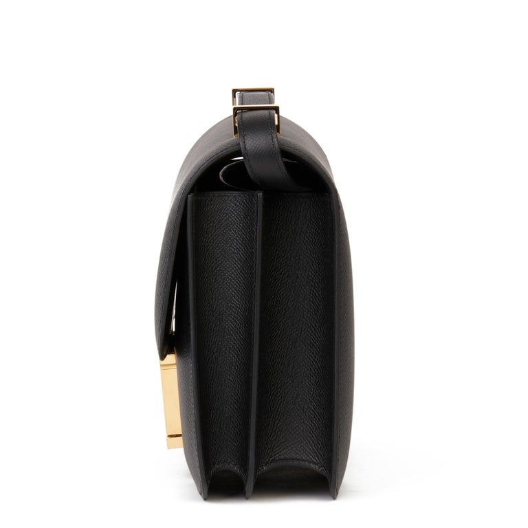 Women's 2018 Hermès Black Epsom Leather Constance 24 For Sale