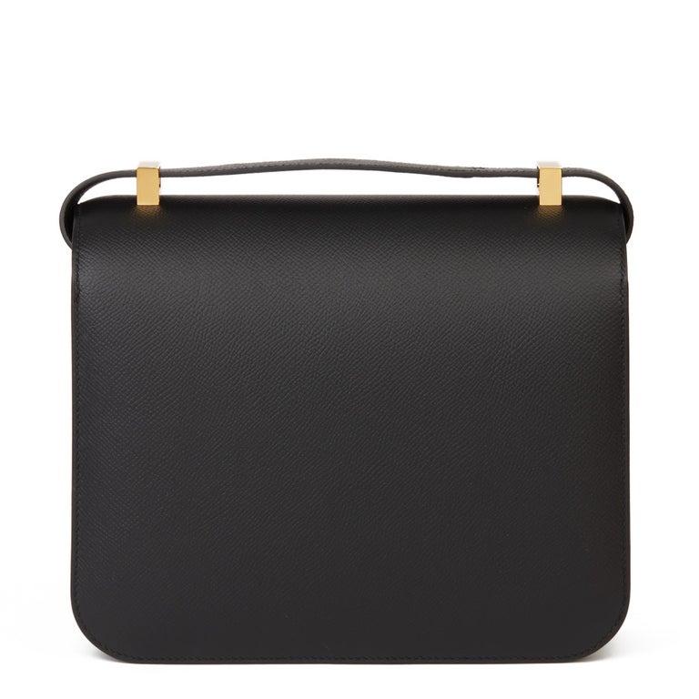 2018 Hermès Black Epsom Leather Constance 24 For Sale 1