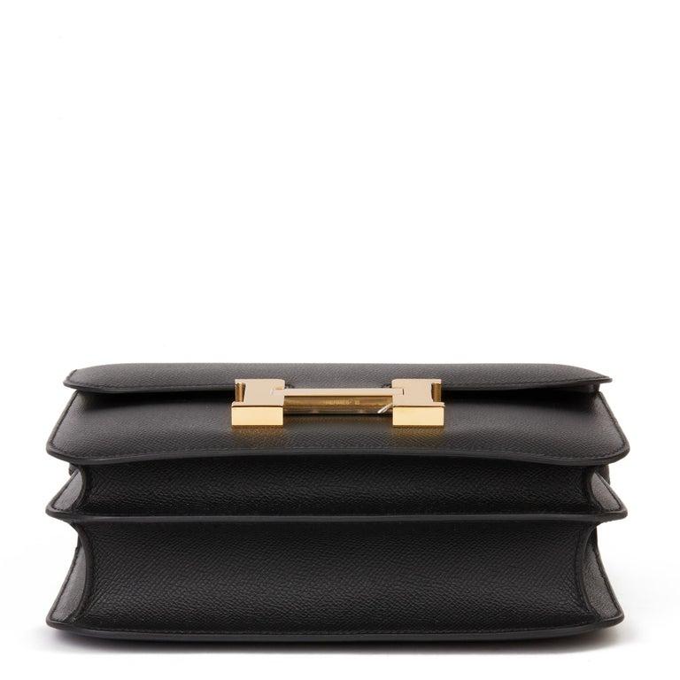 2018 Hermès Black Epsom Leather Constance 24 For Sale 2