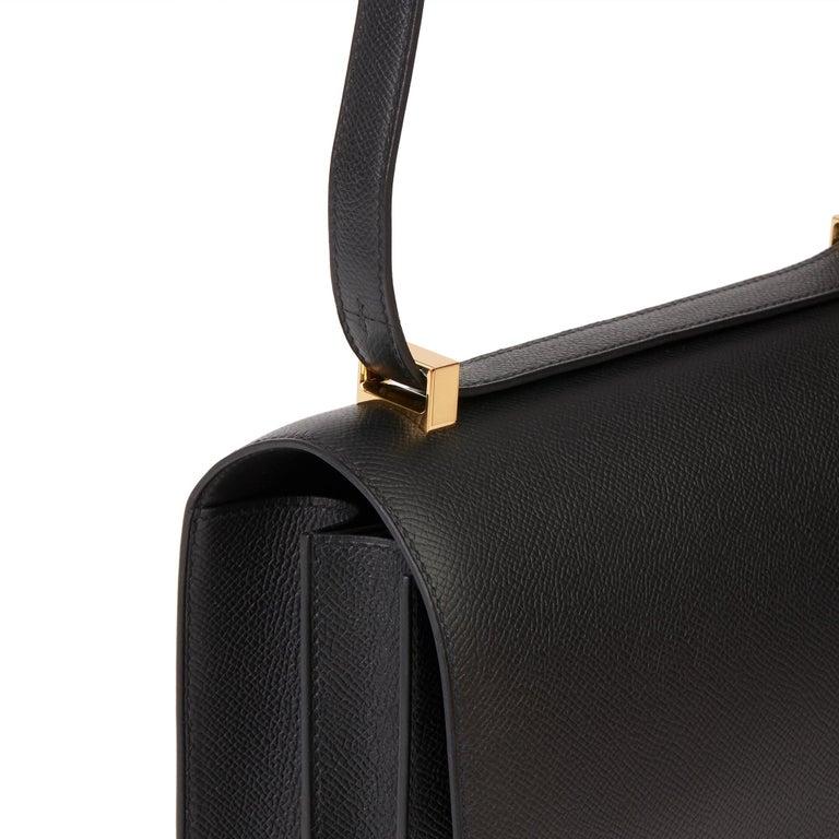 2018 Hermès Black Epsom Leather Constance 24 For Sale 4