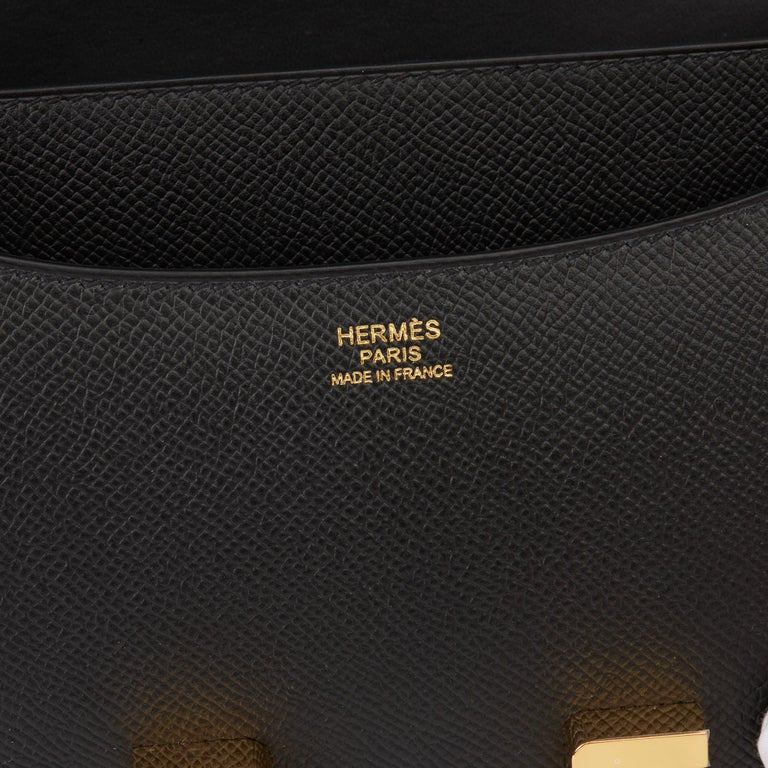 2018 Hermès Black Epsom Leather Constance 24 For Sale 5